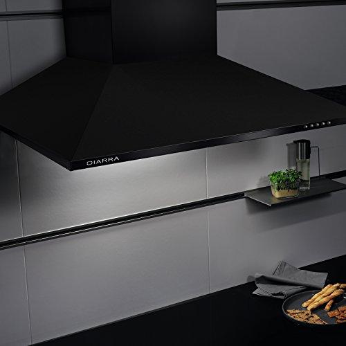 Ciarra cappa da cucina 60cm in acciaio inossidabile nera