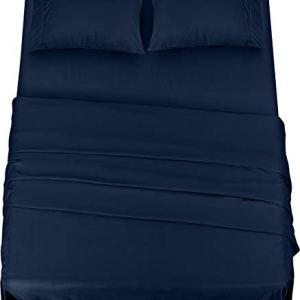 Utopia Bedding  Set Lenzuola Letto  Spazzolata Microfibra  Lenzuola e 2 Federe  per la Letto 135 x 190 cm Blu Navy Una Piazza e Mezza