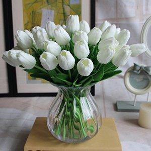 Amkun 10 pezzi realistica PU Artificiale Holland Tulip fiori finti Bouquet Disposizioni per la cucina di casa Soggiorno tavolo da pranzo Decorazioni di nozze White