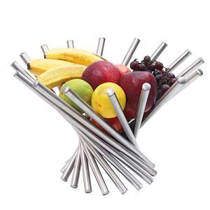 BELLE VOUS Cesto Portafrutta  Portafrutta da Tavolo Pieghevole in Acciaio Inox  Creativa Ciotola per Frutta con Rotazione Moderna Antiruggine per Tavolo e Cucina