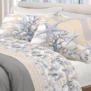 BIANCHERIAWEB Completo Lenzuola in 100 Cotone Disegno Marina Matrimoniale Beige