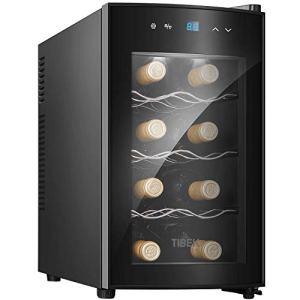 Cantinetta Vino25L 8 Bottiglie Mini Frigo Bar Frigorifero per Vini e Bevande Temperatura digitale del tocco di 818  C Illuminazione interna a LED Nero Arrivo entro 5 giorni