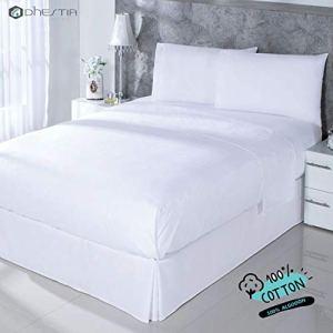 DHestia Hostelerie  Set di Lenzuola Bianche Hotel 100 Cotone Lenzuolo sopra Lenzuolo sotto federe per Cuscino Letto 90 x 190200 cm