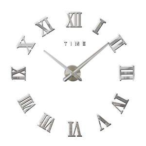 FAS1 Grande Orologio da Parete Moderno DIY Adesivo 3D Stickers Numeri Romani Orologio da Parete Rimovibile per Casa Ufficio Batteria Non Inclusa Argento