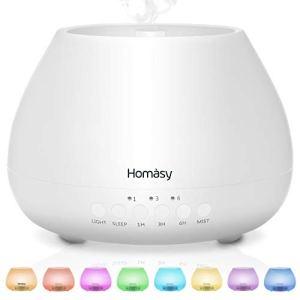 Homasy 500ml Diffusore di Oli Essenziali 23dB diffusore di Aromi con Modalit Sleep Diffusore Oli Essenziali Ultrasuoni Fino a 20 Ore di Lavoro Diffusore Ambiente Luci Notturne 8 Colori Bianco