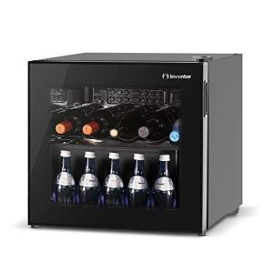 InventorVino  Cantinetta Vino da 43L10 bottiglie Porta reversibile a Doppio Vetro Trasparente anti UV Termostato manualmente regolabile Classe di efficienza energetica A