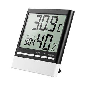 isermeo Termometro Igrometro Digitale Professionale Misuratore di umidit e Temperatura Interno Termoigrometro con Funzione di Orologio per Misura Ambiente