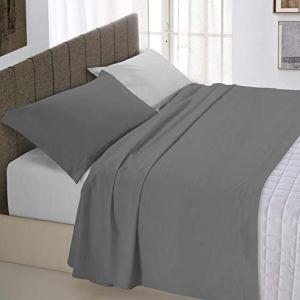 Italian Bed Linen Natural Color Completo Letto Double Face 100 Cotone Grigio ChiaroFumo Una Piazza e Mezza