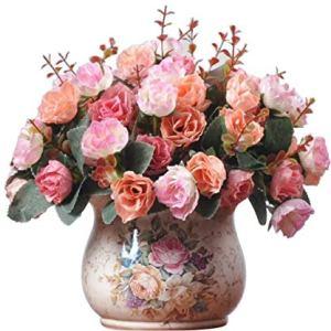 LumenTY Confezione 2 Mazzi di Rose in Seta Artificiale Mazzi di fiori finti Regali Festa Nuziale Cucina Decorazione Casa Ogni Mazzo ha 7 Rami con 21 Boccioli di fiori finti Piante Vintage Pink