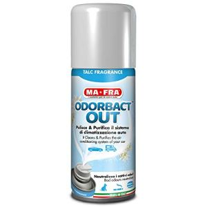 Mafra Odorbact Out Talc Fragrance Spray Purificante per Climatizzatori Auto Neutralizza i Cattivi Odori e Rilascia una Piacevole Fragranza al Talco Formato 150ml