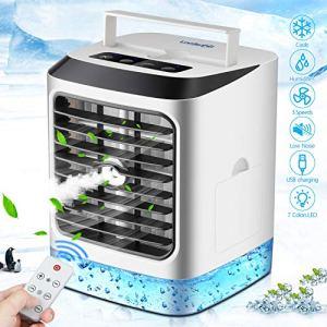Mini Condizionatore Portatile Air Portable Cooler4in1 Mini Raffrescatore Evaporativo Umidificatore Purificatore Daria 7 Colore LED3 velocitTelecomandoUSB Cooler per Casa Ufficio