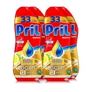 Pril Gold Gel lavastoviglie Sciogli Grasso Limone  Lime Detersivo lavastoviglie con sgrassatore attivo 132 lavaggi 4 x 600 ml