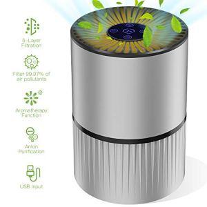 Purificatore dAria Casa con Filtro Hepa Effetti Filtrazione 9997 3 Velocit di Ventilazione e Aromaterapia Fonction Timer Luce Notturna Regolabile Efficace per Allergie Formaldeide Fumi