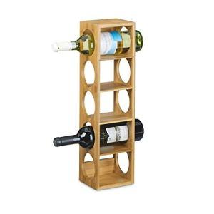 Relaxdays 10020332  Cantinetta Porta VinoCantinetta per Vino in Legno Stile Accattivante Compatta Orizzontale 12 X 14 X 53 cm Marrone Chiaro cartone