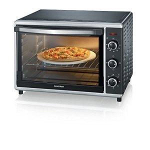 Severin TO 2058 Forno Elettrico 42 Litri ventilato spiedo Girevole Pietra per Pizza teglia Temperatura da 60 Fino a 230 1800 W Nero Argento