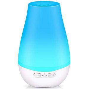 Tenswall Diffusore Atomizzatore di essenze e aromi ad Ultrasuoni 180mlUmidificatore con 7 colori LED selezionabili Purificatore aria per Yoga Camera da Letto Soggiorno Sale Conferenza