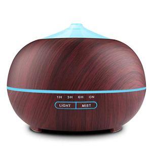 TENSWALL Diffusore Atomizzatore di essenze e aromi ad Ultrasuoni 400mlUmidificatore con 7 colori LED selezionabili Purificatore aria per Yoga Camera da Letto Soggiorno Sale ConferenzaMarrone