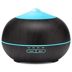 Tenswall Diffusore Atomizzatore di essenze e aromi ad Ultrasuoni 400mlUmidificatore con 7 colori LED selezionabili Purificatore aria per Yoga Camera da Letto Soggiorno Sale ConferenzaNero