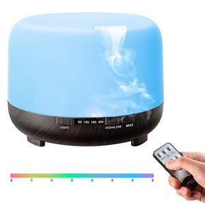 TopEsct Diffusore Atomizzatore di essenze e aromi ad Ultrasuoni 500mlUmidificatore con 7 colori LED selezionabili Purificatore aria per Yoga Camera da Letto Soggiorno Sale Conferenza