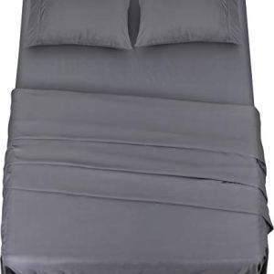 Utopia Bedding  Set Lenzuola Letto  Spazzolata Microfibra  Lenzuola e 2 Federe  per la Letto 135 x 190 cm Grigio Una Piazza e Mezza