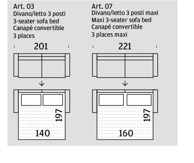 Divano a letto a tre posti Sven di Felis rivestito in tessuto 100 nade in Italy