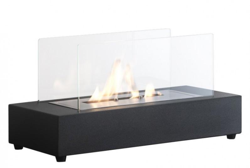 Caminetto a bioetanolo da tavola a base rettangolare in metallo nero