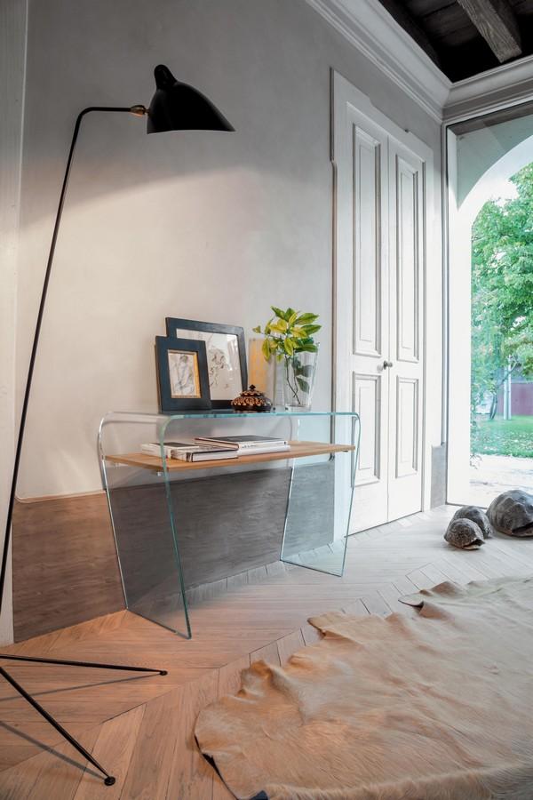 Consolle fissa in vetro curvo e ripiano in vetro o legno