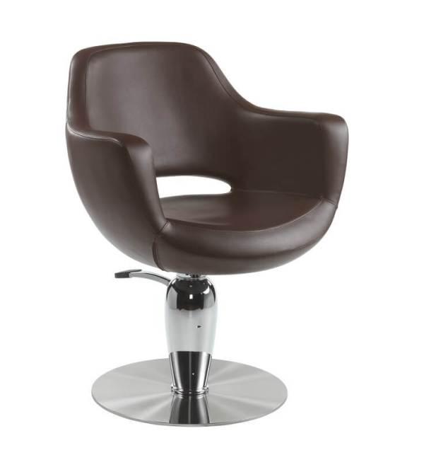Poltrona economica per parrucchieri marrone LUNA con pompa idraulica
