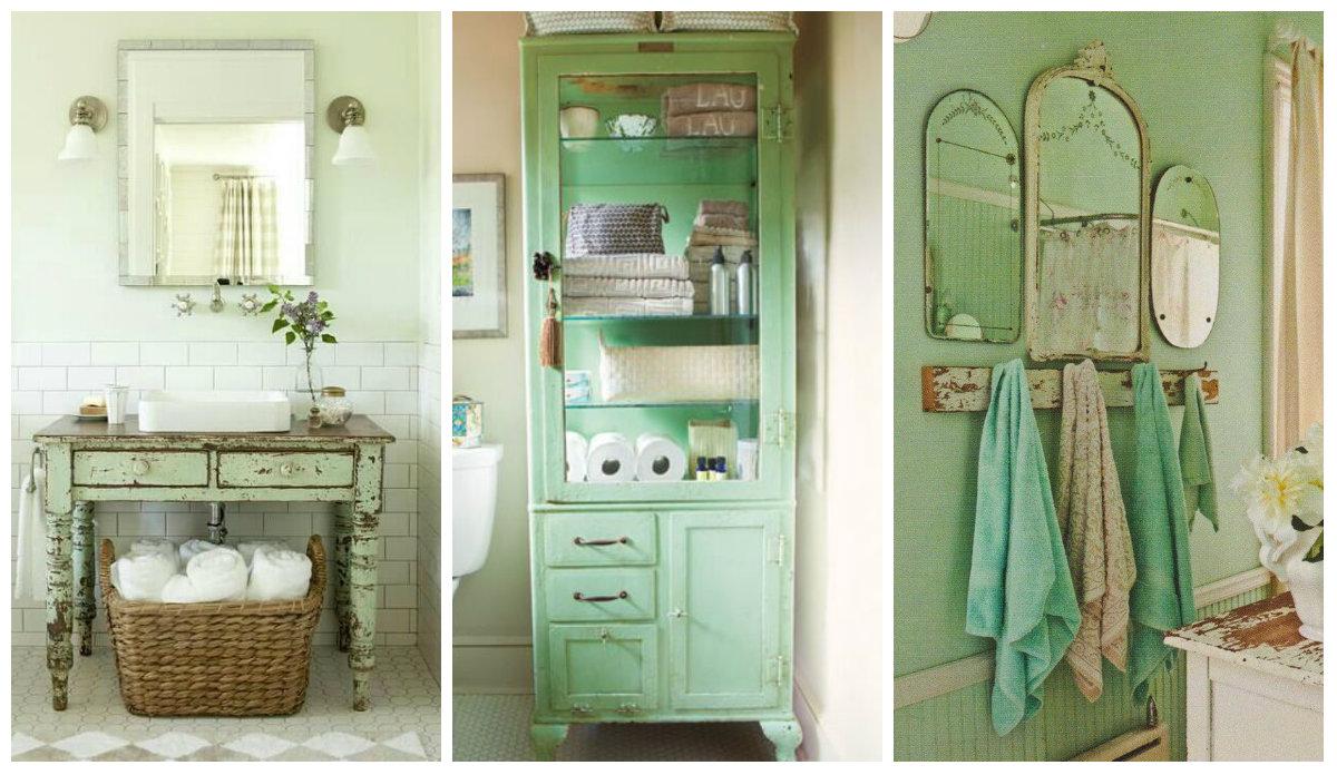 Il verde menta nel bagno Shabby Chic idee romantiche per