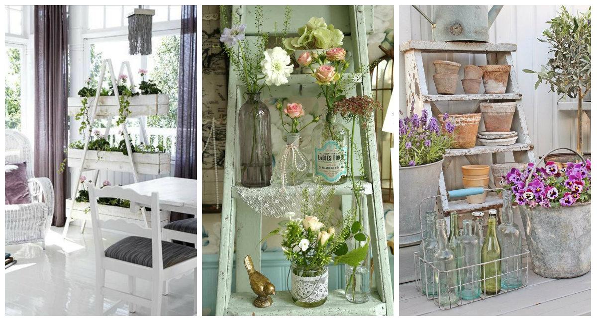 Scala porta fiori e Shabby Chic un binomio perfetto Idee e dettagli  Arredamento Provenzale