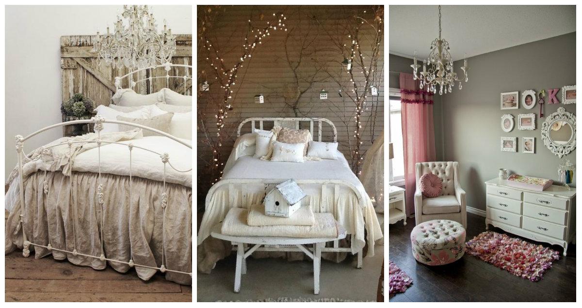 Dettagli romantici nella camera da letto Shabby Chic  Arredamento Provenzale