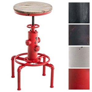 CLP Sgabello Lumos in Metallo e Legno  Forma a Idrante Design Industriale  Sgabello Robusto Altezza Regolabile 5975cm  Sgabello Bar 4 Gambe Urban Rosso