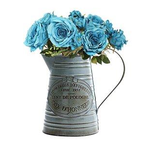 HoneybeeLY Vintage Ferro Secchio Vaso di Fiori con Manico creativi Piante succulente Vaso di Fiori in Metallo secchi e Vaso di Fiori Artificiali per casa Giardino Balcone Decor Large