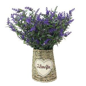 Jarown vintage vaso di fiori artificiali plastica Lvaender corda intrecciata cestino per la decorazione domestica Purple