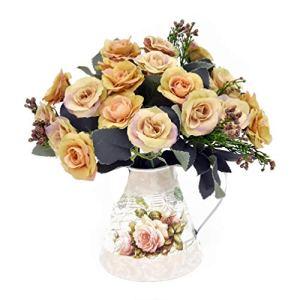 LCCL Fiori Artificiali Vintage Rose di Seta Mini Ferro Vaso Tavolo Camera da Letto Hotel Decorazione della casa