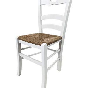 Tot Piccinni Ordine MIN 2pz Sedia Loire in Legno di faggio ALTISSIMA QUALITA L43xP46xA87 cm Bianco Laccato Seduta Paglia