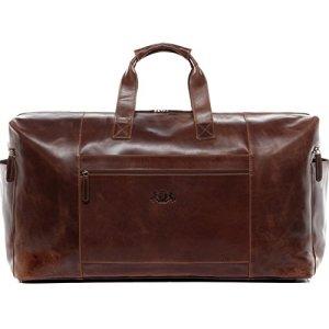 borsa da viaggio vera pelle vintage BRISTOL grande XXL borsa da weekend 62 l borsone uomo cuoio marrone