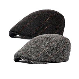 Decstore Pacco di 2 Uomo Cotone Cappuccio Berretti Edera Cappelli Guida Cappelli Invernale Vintage Beret HatBlackGray