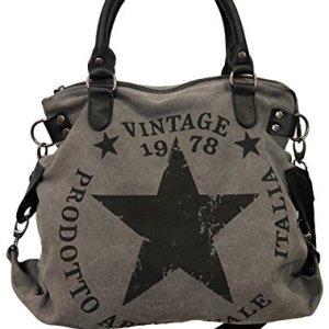 JameStyle26 Star Bag Vintage borsa da donna in stile vintage con stella stampata sopra e manici shopper alla moda in tela Grigio Grau V2 Mae L 45cm H 42cm B 18cm