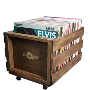 La Caisse dEntreposage de Record de MICROSILLON de bois sur les Roues pour jusqu 100 albums par Retro Musique