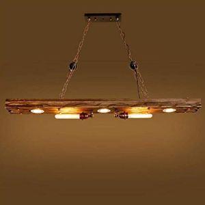 Lampada a Sospensione Retro Design Industriale Lampadari Vintage Legno Metallo E27 Lampadario per Cucina Dining Bar Cafe senza Lampadina