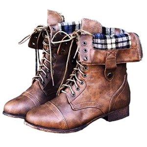 Minetom Donna Inverno Stivali LaceUp Moda Casual Elegante Plaid Fodera Scarpe Stringate Vintage Piatto Boots Stivaletti Marrone EU 36