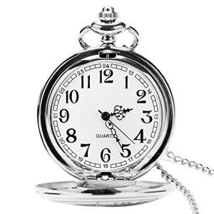 Orologio da tasca con catena classico vintage quarzo ciondoli orologi taschino per DadGrandfathernonno orologio da tasca da uomo come retro regali per la festa del papanniversaireNol Argento