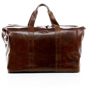 SID  VAIN borsa da viaggio vera pelle vintage CHESTER grande XL borsa da weekend 72 l borsone uomo cuoio marrone