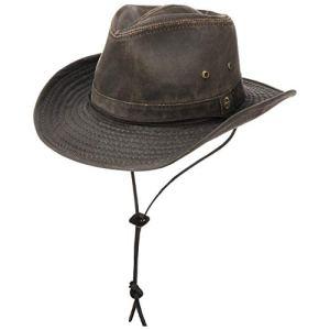 Stetson Diaz Cappello Outdoor DonnaUomo  da Cowboy di Tessuto Disegno Vintage con sottogola pistagna Frange EstateInverno  XL 6061 cm Marrone