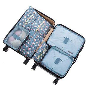 7 Set Sistema di Cubo di Viaggio  3 Cubi di Imballaggio  3 Sacchetti Borsa 1 Borsa portascarpe  Perfetto di Viaggio Dei Bagagli Organizzatore 2Blue Flower