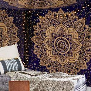 Aakriti Gallery Tapestry Regina Verde Ombre Hippie Arazzo Mandala Bohemian Psichedelico intricato Indiano copriletto 2337 x 2083 cm Blue Golden
