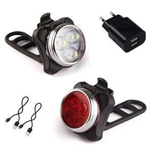 AMANKA Luci per Bicicletta Set Luce Bici LED Light con 5V2A Caricabatterie 400LM Luci Bici LED di Avvertimento Set Fari Posteriori Combinazioni
