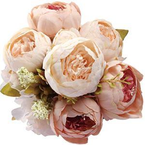 Amkun  Bouquet vintage di peonie artificiali in seta ornamento per casa e matrimoni confezione da 1 Champagne
