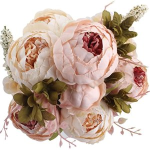 Amkun  Bouquet vintage di peonie artificiali in seta ornamento per casa e matrimoni confezione da 1 Light Pink